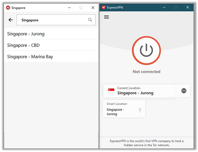 ExpressVPN Connected to Singapore