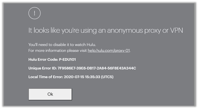 Hulu VPN Detected Error