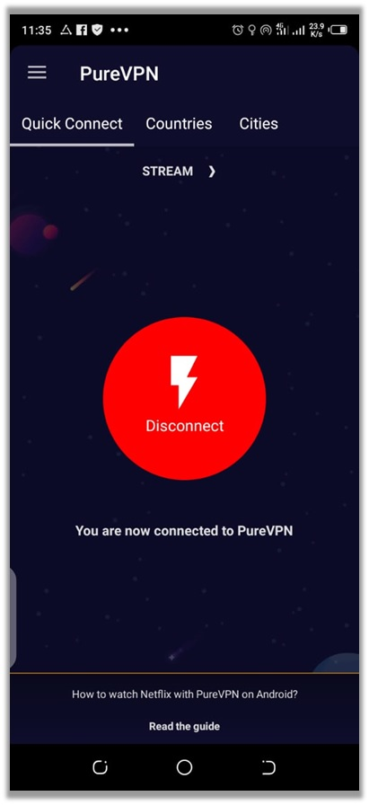 PureVPN Connected To US Server