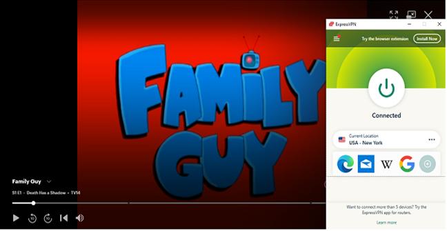 Family Guy show on Hulu through ExpressVPN Unblocking